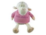 White Plush Lamb with pink Sweater 9
