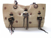 Eco Friendly Burlap Purse Adorned with Coconut Shell , Sea Shells and Mother of Pearl