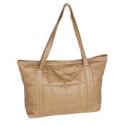 Blancho Bedding SY26-KHAKI Lasting Charm Stylish Khaki Double Handle Leatherette Satchel Bag Handbag Purse