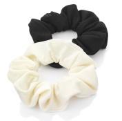2 Black & Cream Jersey Hair Scrunchies AJ26042