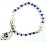 Hamsa Hand Kabbalah Blue Glass Beads Bracelet Evil Eye