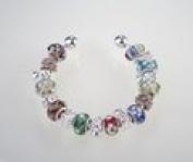 Multi Colour Murano Charm Bangle Bracelet
