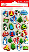FROSTY THE SNOWMAN AND CHRISTMAS TREES SNOW GLOBE TYPE OF CUSHION STICKERS (