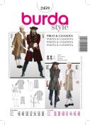 Burda 2459 Adult/ Mens Costume Pattern Pirate, Casanova, Frenchman 1700s Size 36 to 48