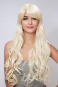 Diy Long Women's Golden Deep Curly Wave Oblique Bangs Natural Beautiful Heat-resistance Full Hair Wigs