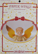 Fibre Craft 1 PAIR of PAPER 'ANGEL or DOLL' WINGS Each WING Size 15cm - 1.3cm Long x 5.1cm - 1.3cm Widest Part FITS 10cm DOLL HEAD & Wing Colour is GOLD Embossed CARDSTOCK