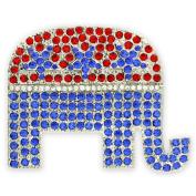 Rhinestone Republican Elephant Brooch Lapel Pin