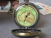 Antique Brass Oceania Australia Map Pocket Watch Necklace, Sailing Boat Adventure Necklace
