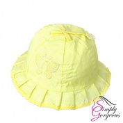 Cute Baby Girls Toddlers Stripes & Butterflies Summer Sun Hat Bonnet Embroidered Age 3- 24 Months Yellow