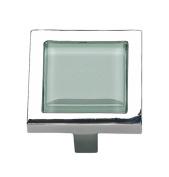 Atlas Homewares 230-GR/CH 4.4cm Spa Green Square Knob, Polished Chrome