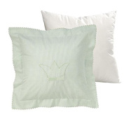 Wellyou Cuddly Pillow And Pillowcase - 40X40cm - Green/White Ginghamcheck With Embroidery