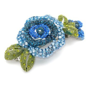 DoubleAccent Hair Jewellery Simulated Crystal Rose Barrettes, Blue