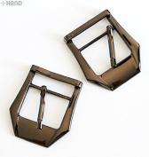 Z & C8518 Metal Dark Copper Tone Shoe Boots Handbag Belt Buckles 2.2cm with Slider Bar - Pack of 5 Pairs