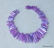 Purple AB Titanium Quartz, Titanium Crystal, Titanium Beads, Titanium Points, Raw Crystal Quartz, Graduated - Full Strand - 20mm - 50mm