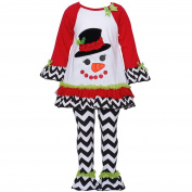 Rare Editions Baby Girls Red Black White Chevron Snowman Legging Set 12M