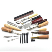 18 Pcs Leather Hole Grinding Polish Sewing Punch Groover Skiving Knife Awl Leather Craft Tools