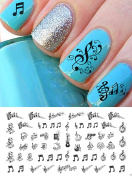 Sheet Music Notes Water Slide Nail Art Decals Set #2 - Salon Quality 5 1/2
