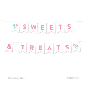Andaz Press Team Pink Team Blue Gender Reveal Baby Shower Collection, Hanging Pennant Party Banner with String, Sweets & Treats, 1.5m, 1-Set, Decor Paper Decorations