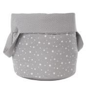 Belino Stars - juguetero Round Fabric, 30 x 30 x 40 cm, Grey