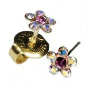 "Ear Piercing Earrings Rainbow Crystal Daisy Flower Gold Studs ""Studex System 190cm Hypoallergenic"