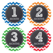 Pinkie Penguin Baby Monthly Stickers - Baby Boy - 1-12 Months - Milestone Onesie Stickers