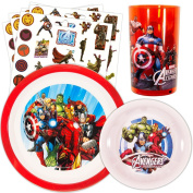 Marvel Avengers Toddler Dinnerware Set - Plate, Bowl, Cup, Stickers
