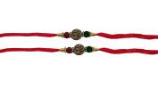 Set of Two, Om - Swastik Design, Rakhi thread, Raksha bandhan Gift for your Brother, Red Colour